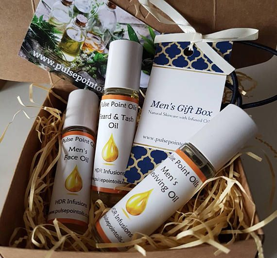 Men's Gift Box. Fathers day gift set Male natural skincare. Our face oils nourishes, protects and is anti-aging. Beard and tash oil, fantastic shave oil with refreshing aroma that conditions facial hair. Reviving oil improves skin condition and has a calming sensuous scent. #mensfaceoil #mensshaveoil #beardoil #beardconditioninoil #moustacheoil #mensantiaging #mensgifts #fathersdaygift #malebeauty #malegifts #pulsepointoils #menspresents #dadsgift