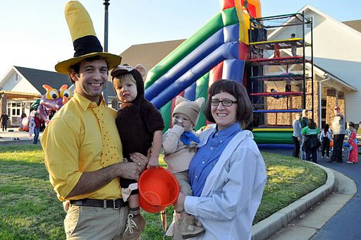 DIY Family costume: Curious George, Man in the yellow hat, Professor Wiseman and Gnocchi  ||  Put Up Your Dukes: group costume 2k11