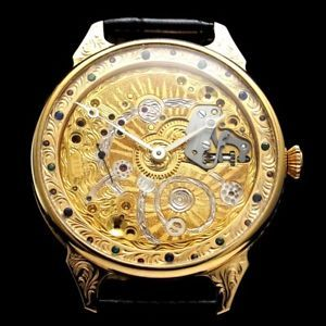 """I am happy to offer for sale this beautiful amazing large skeletonized dress THE NOBLE DESIGN WATCH that dates to 1944 and decorated of the HIGH QUALITY ENGRAVING and COLOUR STONES. It was made by the """"Omega Factory"""" in Switzerland.  #watches #menswatches #vintage#vintagewatches #vintagemenswatches#wristwatches #audemarspiguet#buywatches #buyvintagewatches#buyvintage #patekphilippe #rolex #iwc#omega #antiquewatches #antique#oldwatches #fashion #fashionwatches#luxury#wandolec"""