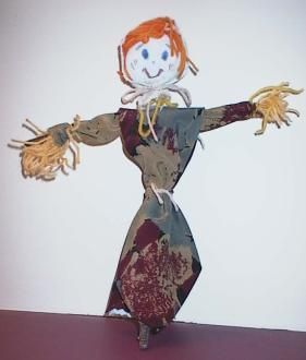 Necktie Scarecrow, cute craft for kids when learning about gardening.