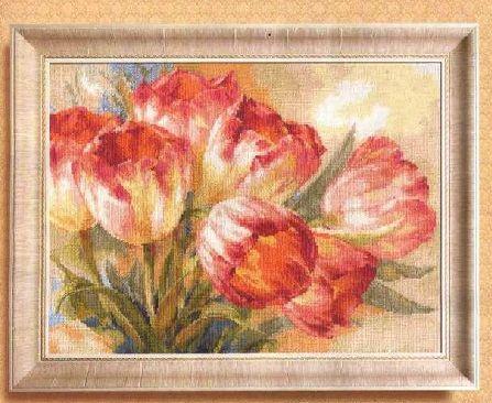 БЕСПЛАТНАЯ доставка ВЫСОКОЕ качество Счетный Крест Комплект Tulpany Тюльпан Тюльпаны алиса