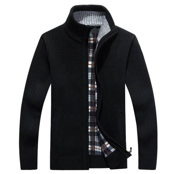 ouxiuli Mens Autumn Fashion Zipper Round Neck Long Sleeve Solid Color Cotton Pullover Sweatshirt