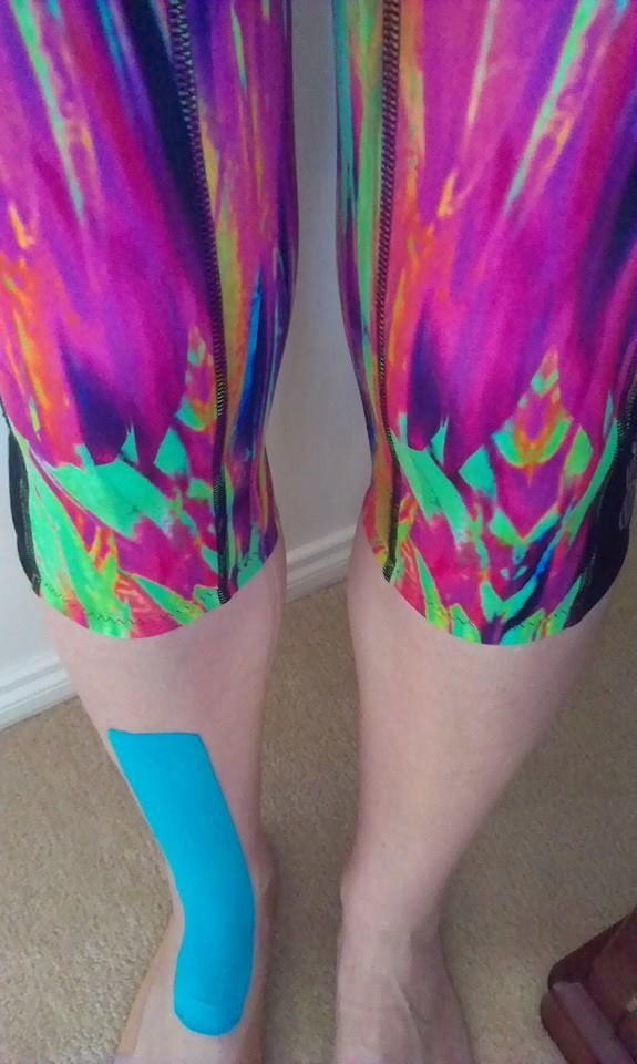 Post marathon muscle strain! Just walking, stretching & massaging this week for me. Even the rock tape my podiatrist put on goes with my skins!