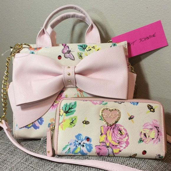 NWT Betsey Jhonson Crossbody & Wallet Floral Set Amazing set by Betsey ! Gorgeous Crossbody Bag & Wallet Set! Off white with roses, butterflies and bees! Pink, mint, green, yellow... So cute! Brand new with tags! Betsey Johnson Bags Crossbody Bags