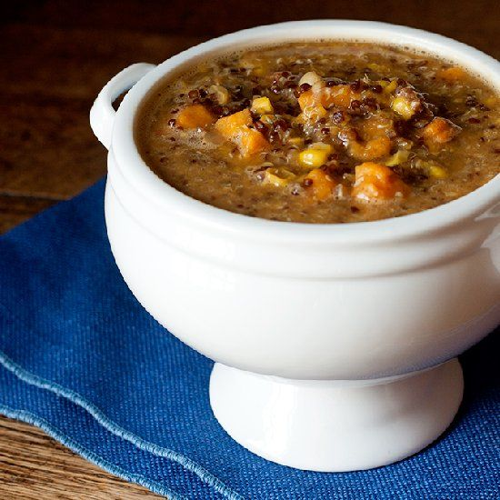 Vegan quinoa corn chowder is perfect for a blustery evening.