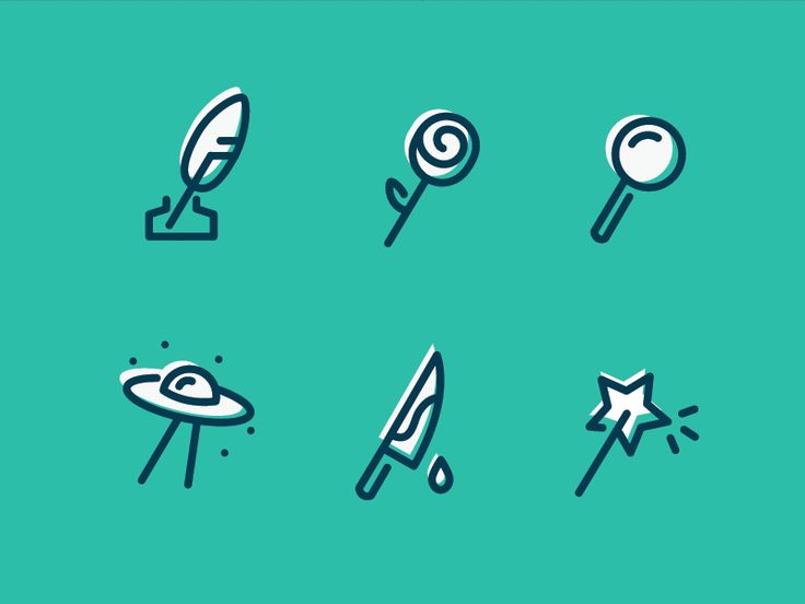 Dribbble - Book Genre Icons by Hilary Commer
