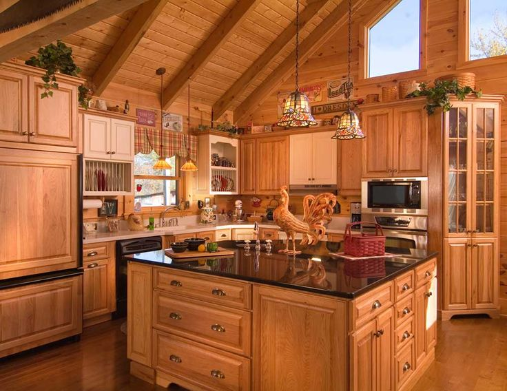 Rustic And Natural Kitchen Design Works Beautifully With Log Homes