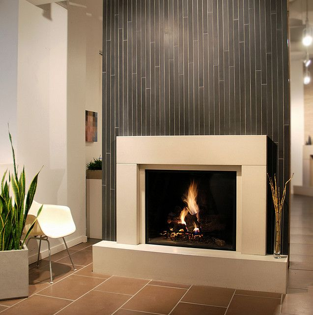 Modern and Unique Fireplace Mantel Kits: Modern Fireplace Cast Concrete Tiles Western Theme ~ Interior Inspiration