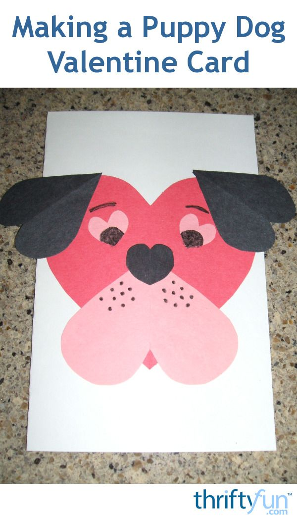 This is a guide about making a puppy dog Valentine card. Paper heart shapes can be arranged together to create a cute puppy face for a Valentine's card.