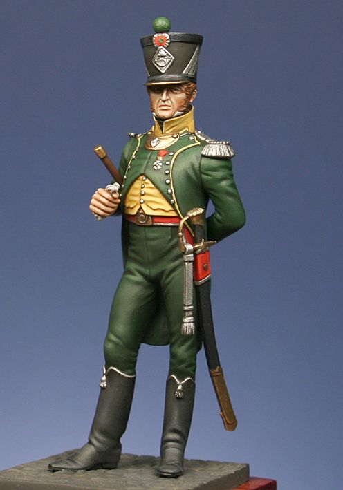 Foreign troops light infantry : Officer of chasseurs, 1st. regiment, Kingdom of Italy 1807