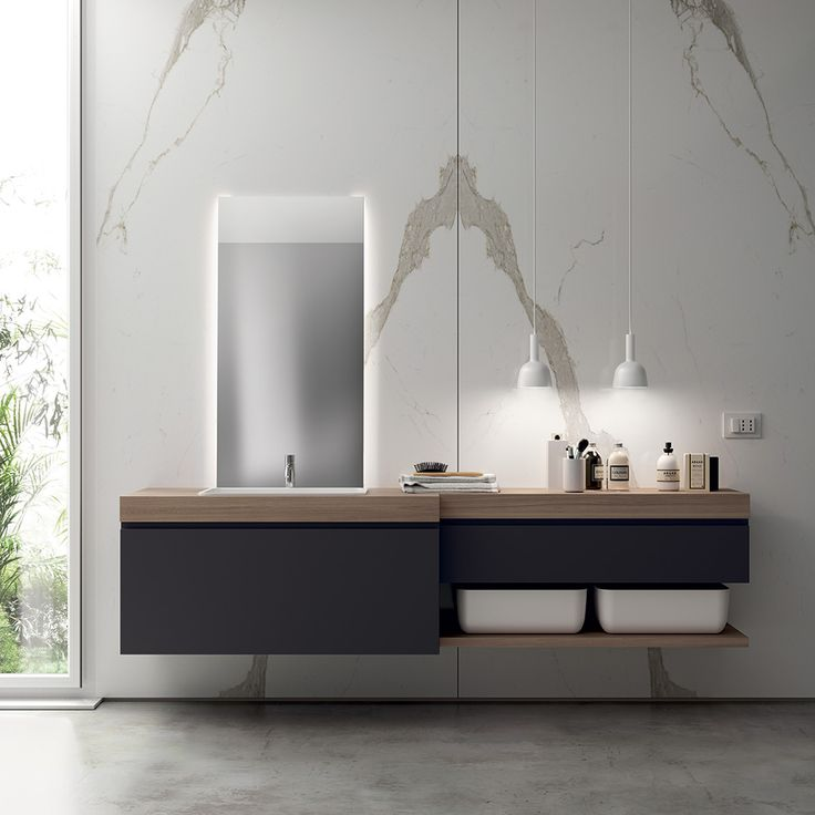 Base units in Iron Grey SCAV 374 matt lacquer 10 thick top and shelves in Hono Elm Laminate KI 60 cm Cristalplant® inset washbasin