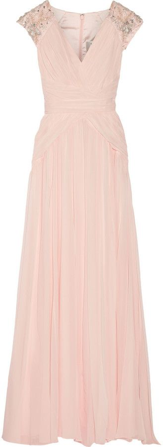Badgley Mischka Embellished silk-chiffon gown #TheOutnet