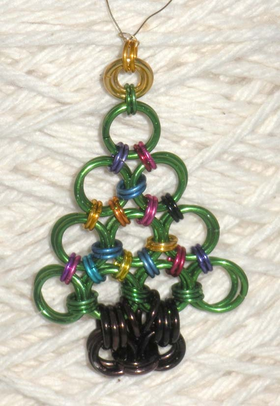 "Itty bitty (2"") chainmaille holiday tree!"