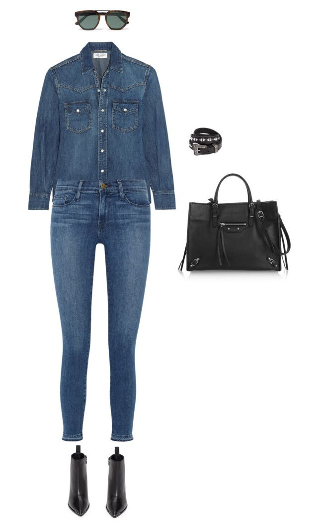 """""""Untitled #509"""" by amyjonez on Polyvore featuring Yves Saint Laurent, Frame Denim, Acne Studios, Balenciaga and Le Specs"""