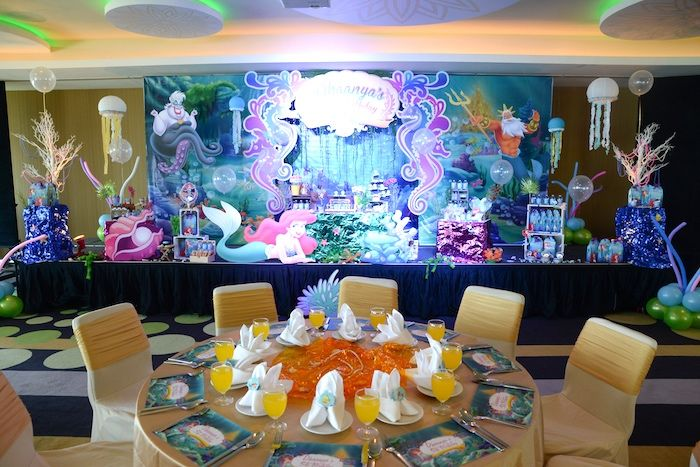 Guest table from an ariel the little mermaid birthday for Ariel birthday party decoration ideas