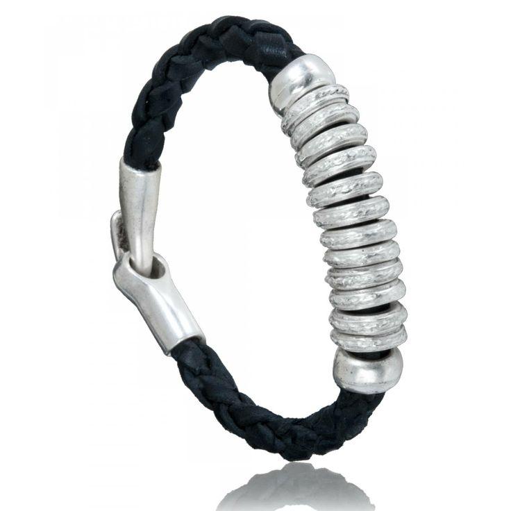 Bracelet homme cuir noir Rasa - Oclaf