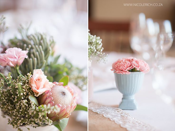 www.nicolerich.co.za Wedding decor was neutral palette of pale pinks, greens, blues, flowers were proteas, bridesmaids dresses were coral infinity wraps