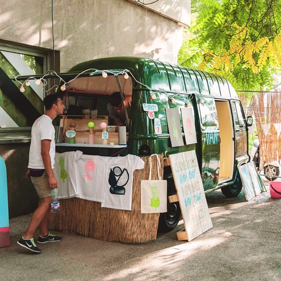 This mobile screen-printing studio lets customers print a selection of limited edition designs by international illustrators onto their boring old t-shirts, as well as posters and tote bags. Each weekend the team changes both location and range of designs