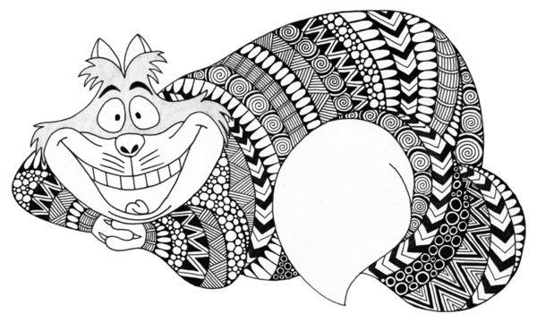 Mandalas Para Colorear Con Animales Y Zentangles: Zentangle Cheshire Cat