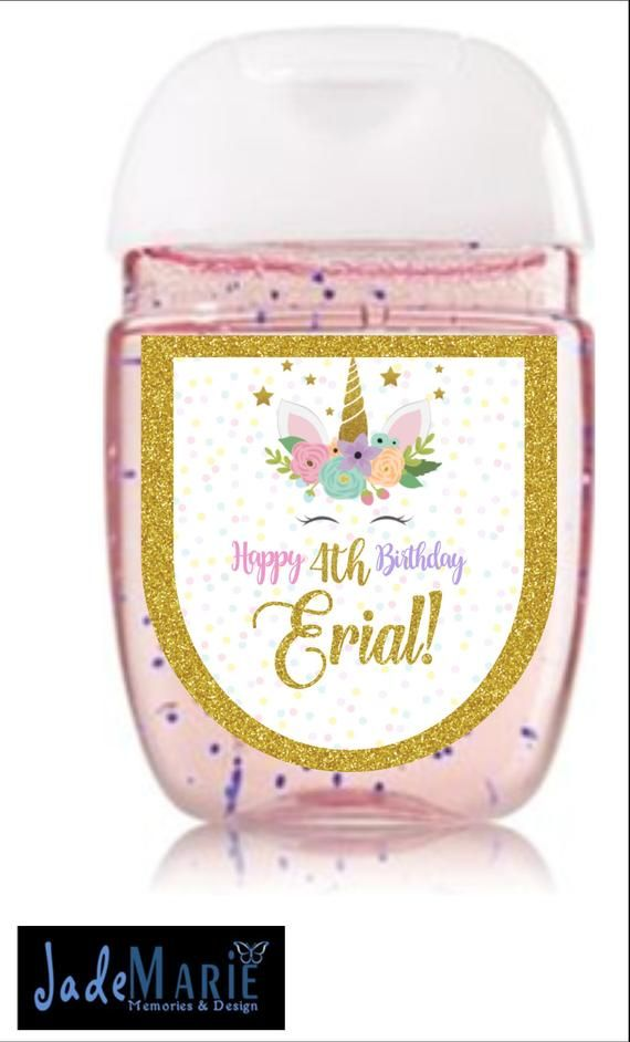 Unicorn Hand Sanitizer Labels Birthday Baby Shower Favors Digital
