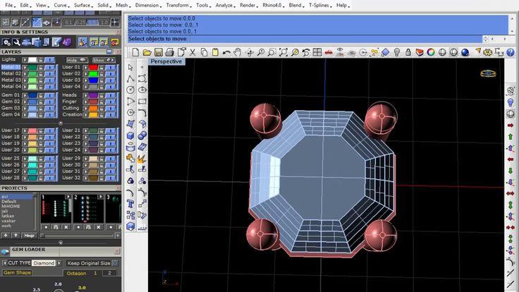 Basic Rhino cad rhino gemvision for Jewellery octagon kolet