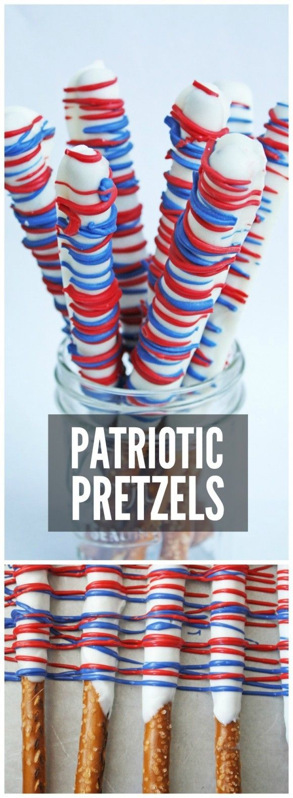 Red, white, and blue pretzel rods, a perfect treat for your July 4th parties!   http://CatchMyParty.com