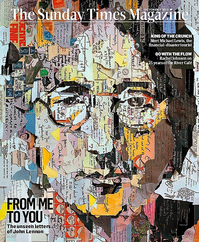 Portrait John Lennon was built by tearing up copies of letters (unpublished) written by John Lennon himself.  Made by artist Ian Wright  Todays cover The Sunday Times Magazine  Art director Alyson Waller (alyson.waller@Sunday-times.co.uk)