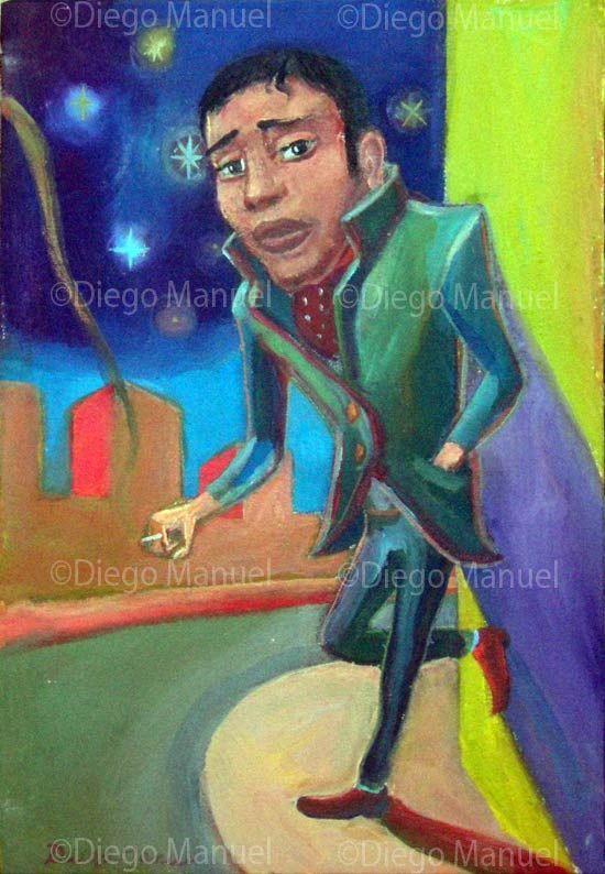 """""""Fumando espero (b)"""" , acrylic on canvas, 18 x 6 cm. year2012  By Diego Manuel"""
