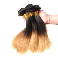 Ombre Brazilian Remy Hair Straight Weave Human Hair 1B/27 10 Inch Extensions - Fwresh Beauty INC