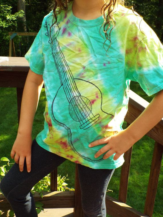Tiedye Guitar TShirt Kids M from Anything on a Tie Dye at CreationsbyMaris https://www.etsy.com/listing/240323242/tiedye-guitar-tshirt-kids-m-kids-guitar