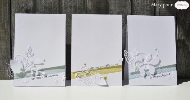 Retour au clean et au blanc avec une nouvelle série de cartes très simples et élégantes. J'ai voulu mettre en valeur les jolis papiers de COM.16. Et comme ils se suffisent à eux-mêmes, je n'ai utilisé que du blanc pour les accompagner. Voici mon trio...