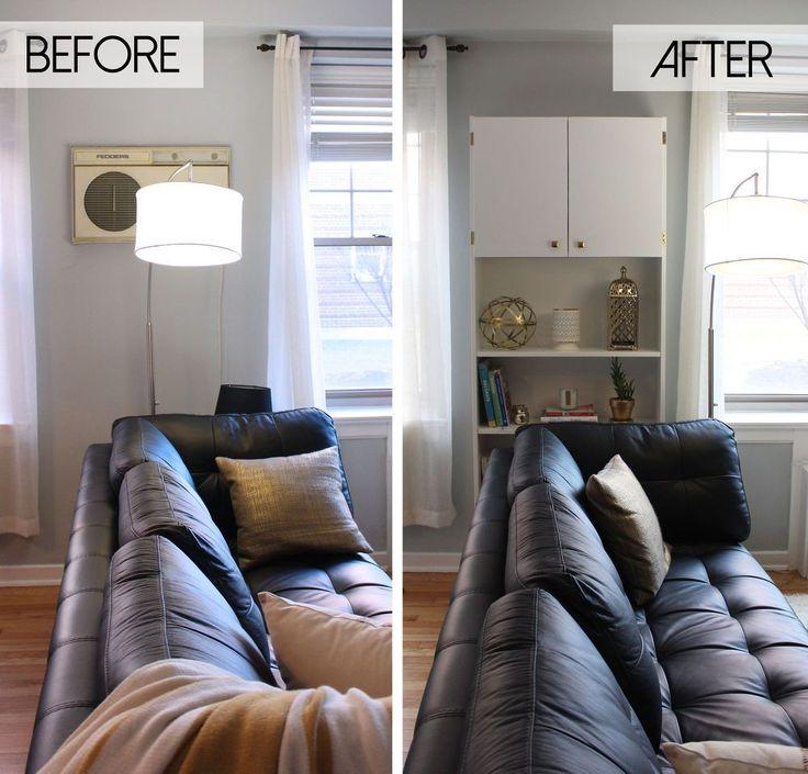 Escondendo uma unidade de parede feio Air Conditioner: IKEA Billy Corte | Hometalk