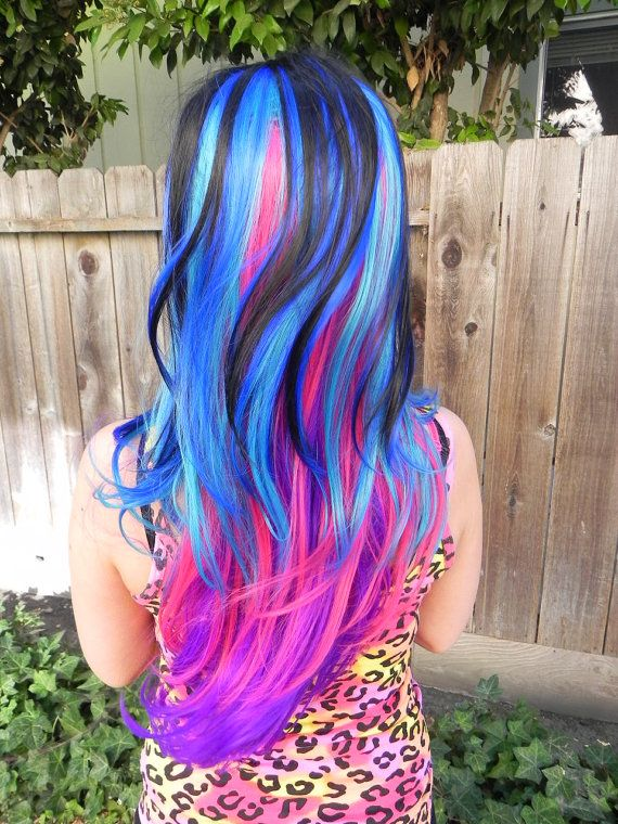 Colorful Hairstyles find this pin and more on colorful hairstyles creative hair colors by myfantasyhair Colorful Mermaid Black Blue Purple Pink Long Wavy Curly Layered Wig