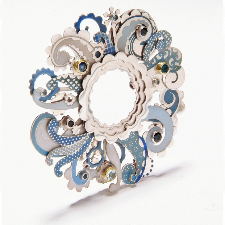 Brooch | Barbara Macleod. 'Swirl'. Sterling silver, enamel, sapphire, aquamarine, topaz and 18k gold.