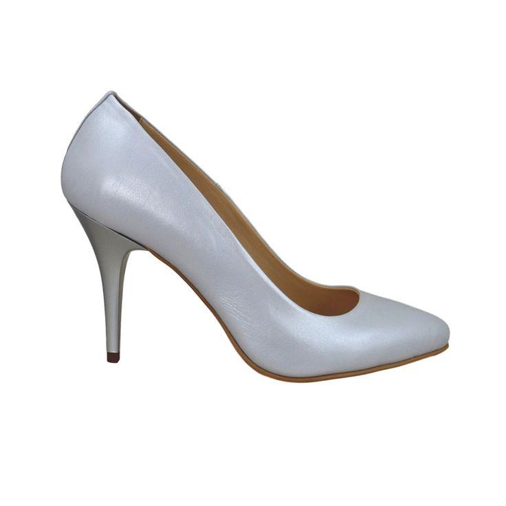 Pantofi stiletto din piele alb sidef