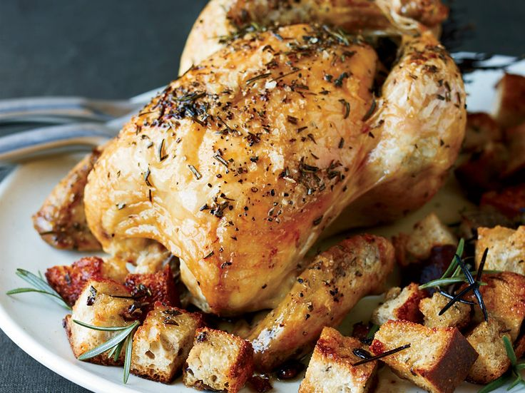 Brined Roast Chicken with Olive Bread Panzanella | This is a fantastic roast chi…   – Poultry