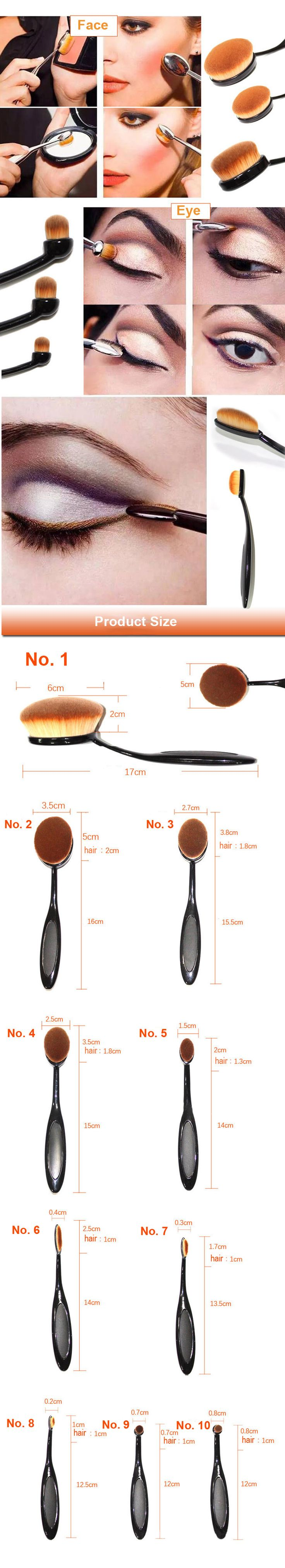Oval Soft Brush Makeup Cosmetic Powder Foundation Face Eyeshadow Brushes Tool Kit - US$ 23.20