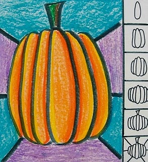 This was a fun and easy lesson I did with my 1st grade class. I think that oil pastels are my new favorite material. I love the way they blend and mix together. I allowed the students to make their own types of backgrounds. Hint: WORK LIGHT TO DARK! I used yellow/orange pastel first and traced the inside left sides of the ovals on the left. Then I traced the inside right of the ovals on the right. Then I colored all the ovals orange. Finally I used a red/orange pasted and traced t...
