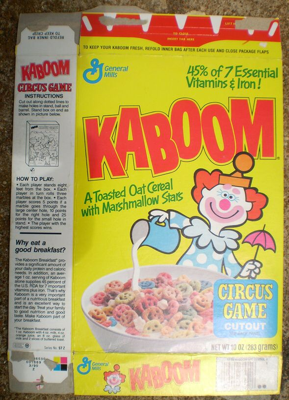 1989 General Mills Kaboom Cereal Box Front