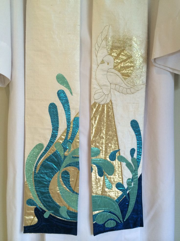 This is a special stole that I created especially for baptisms. You can see the Holy Spirit represented as a dove with the water splashing. Silk fabric with lame and embroidery