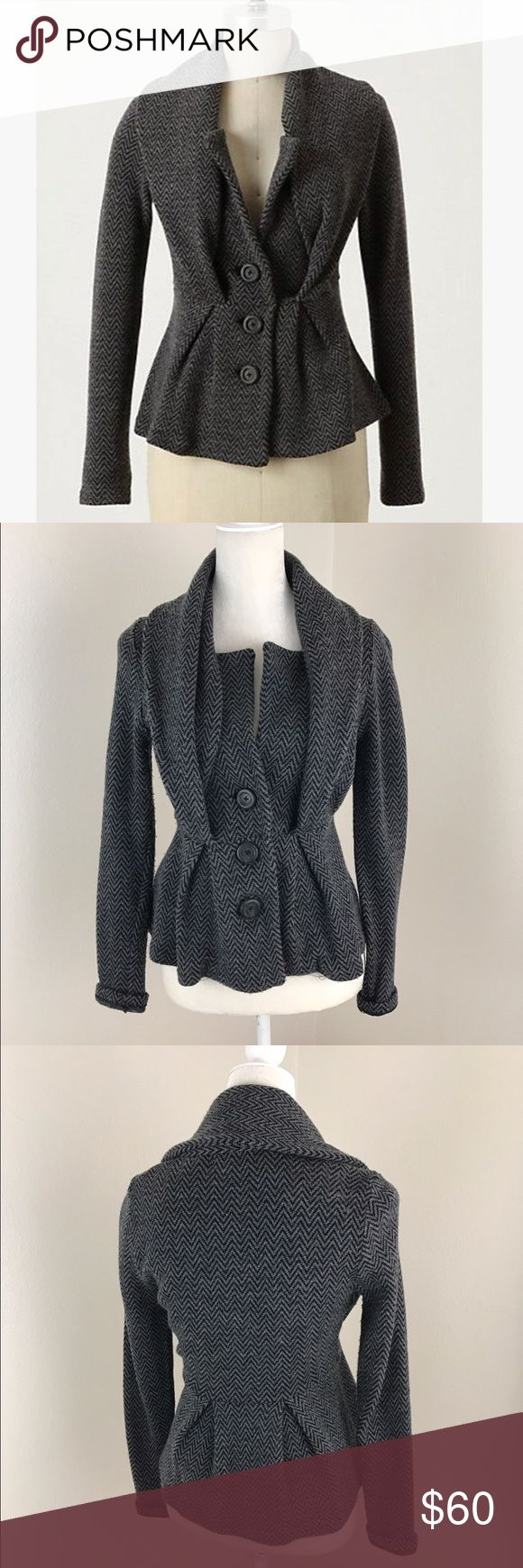 Sale! Anthro Sleeping on Snow Herringbone Jacket Anthropologie gray herring bone cowl neck sweater jacket with front button detail. Thicker knit between a sweater and a jacket. Long sleeve beautiful cape collar and cinched waist. Wool/cotton blend. Armpit to armpit, 19 inches. Used condition with minor pilling and there is a clasp shown in picture where the connector has pulled out (I don't even really see the need to use the clasp since the buttons serve that purpose but since it's a sign…