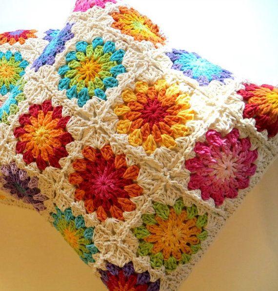 Flower  Cushion cover -  Sunburst Crochet  Cushion Cover - Afghan Motif