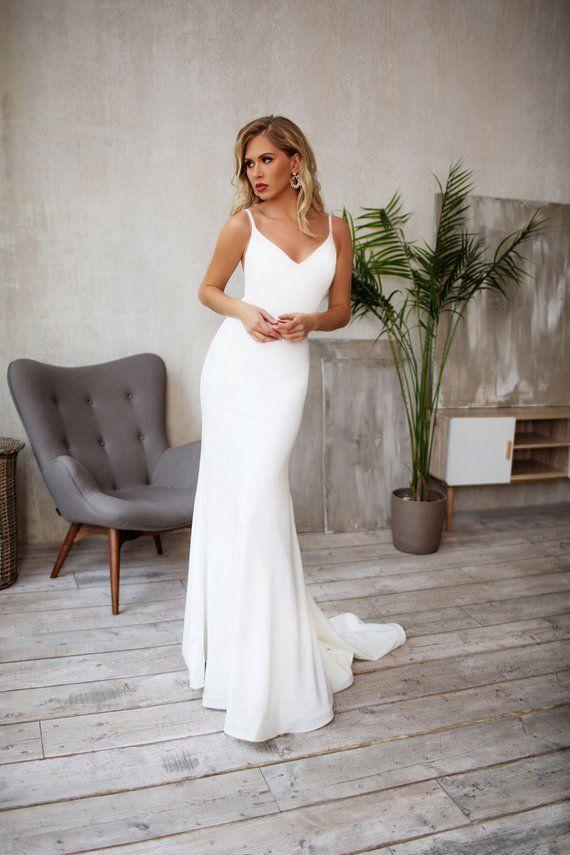 Tight Wedding Dress Crepe Sleek Silhouette Minimalist Bridal Gown Georgie Tight Wedding Dress Wedding Dresses With Straps Spaghetti Strap Wedding Dress