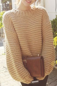 Fashionable Puff Sleeve Round Neck Solid Color Sweater For Women