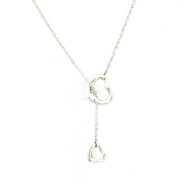 Authentic Tiffany & Co. Elsa Peretti Open Heart Lariat Necklace Sterling Silver #TiffanyCo #Lariat