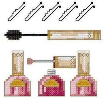 0 point de croix mascara et vernis à ongles - cross stitch mascara and nail polish
