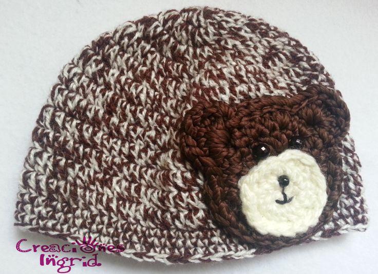 Gorro Aplique Osito / Teddy Bear Apliqque Crochet Hat