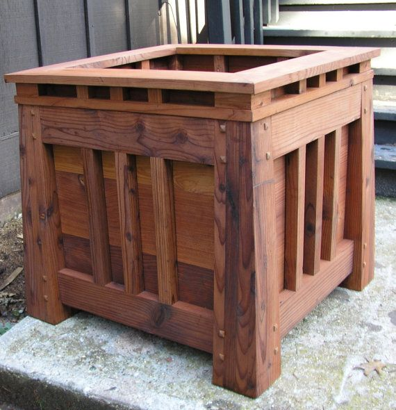 Mission Style Redwood Planter Craftsman by MidCenturyWoodShop