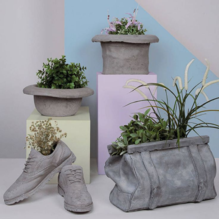 Concrete bag plant holder dekorationer gr skar og vinter Concrete planters