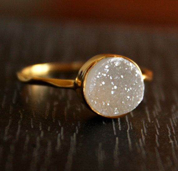 14K gold ring with white drusy